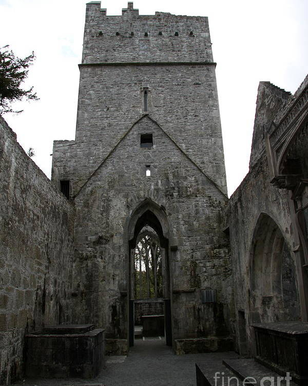 Muckross Abbey Poster featuring the photograph Muckross Abbey Steeple by Christiane Schulze Art And Photography