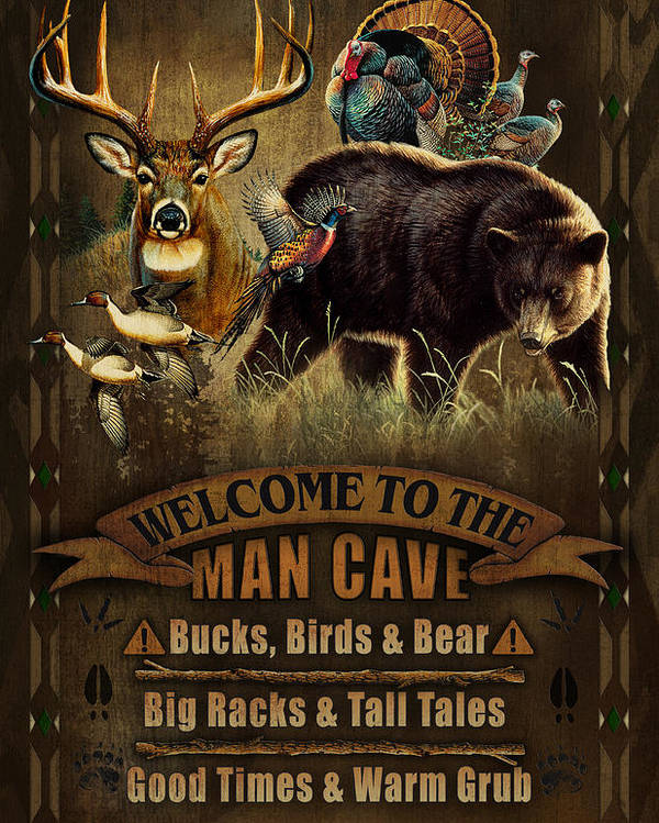 Cynthie Fisher Poster featuring the painting Multi Specie Man Cave by JQ Licensing