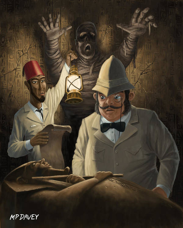 Egyptian Poster featuring the painting Mummy Awake by Martin Davey