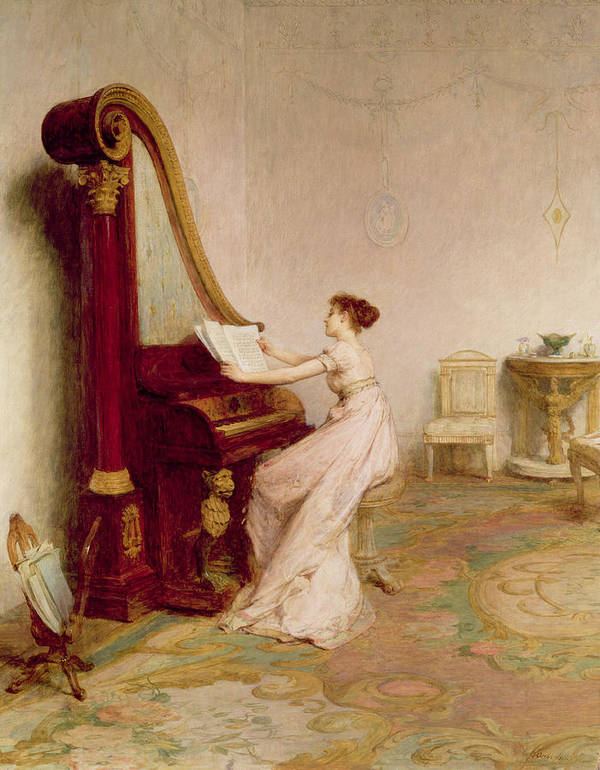 Interior Poster featuring the painting Music When Soft Voices Die, Vibrates by Sir William Quiller Orchardson