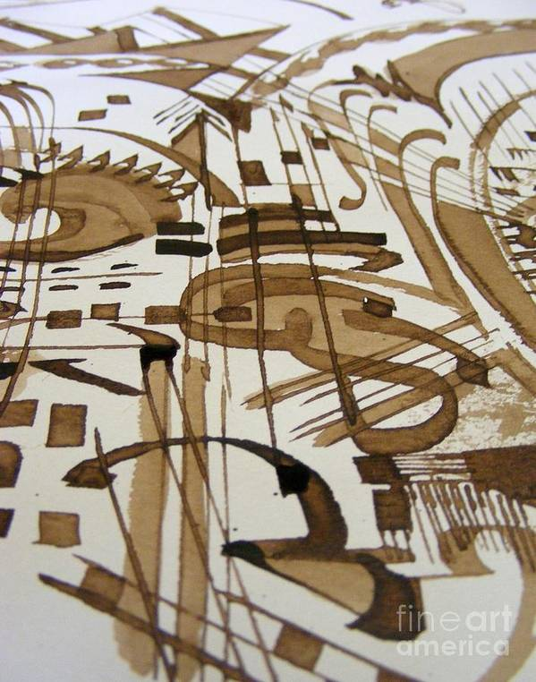 Geometric Abstract Pen And Ink Painting Poster featuring the painting Musical by Nancy Kane Chapman