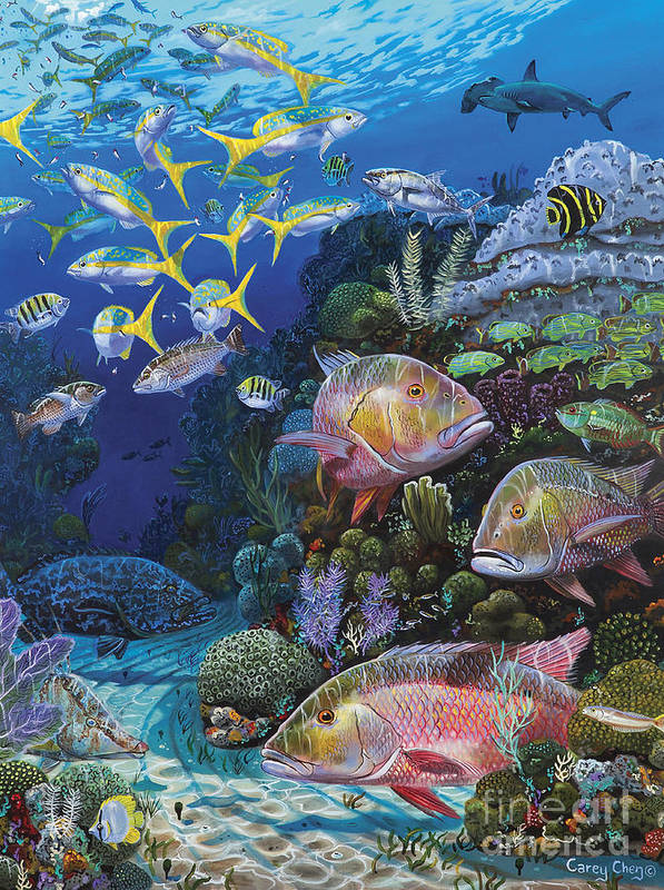 Mutton Poster featuring the painting Mutton Reef Re002 by Carey Chen