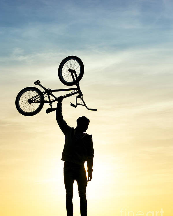 Young Man Poster featuring the photograph Bmx Biking by Tim Gainey
