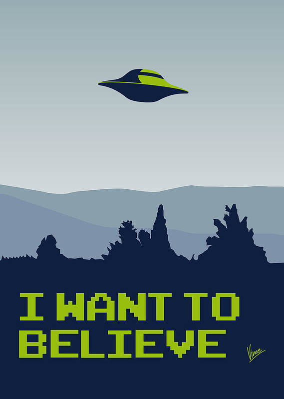 Classic Poster featuring the digital art My I Want To Believe Minimal Poster by Chungkong Art