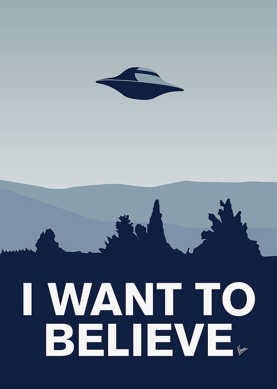 Classic Poster featuring the digital art My I Want To Believe Minimal Poster-xfiles by Chungkong Art