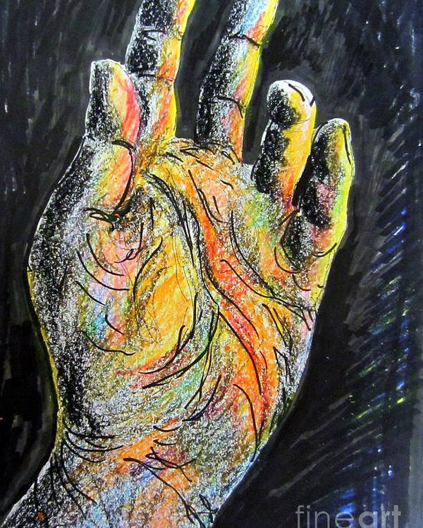 Human Hand Poster featuring the painting My Left Hand 3 by Roberto Gagliardi