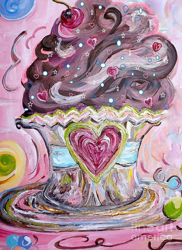 Cupcake Poster featuring the painting My Lil Cupcake - Chocolate Delight by Eloise Schneider