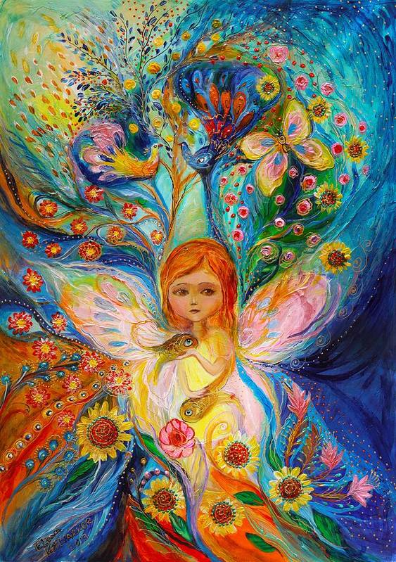 Jewish Art Poster featuring the painting My Little Fairy Caren by Elena Kotliarker
