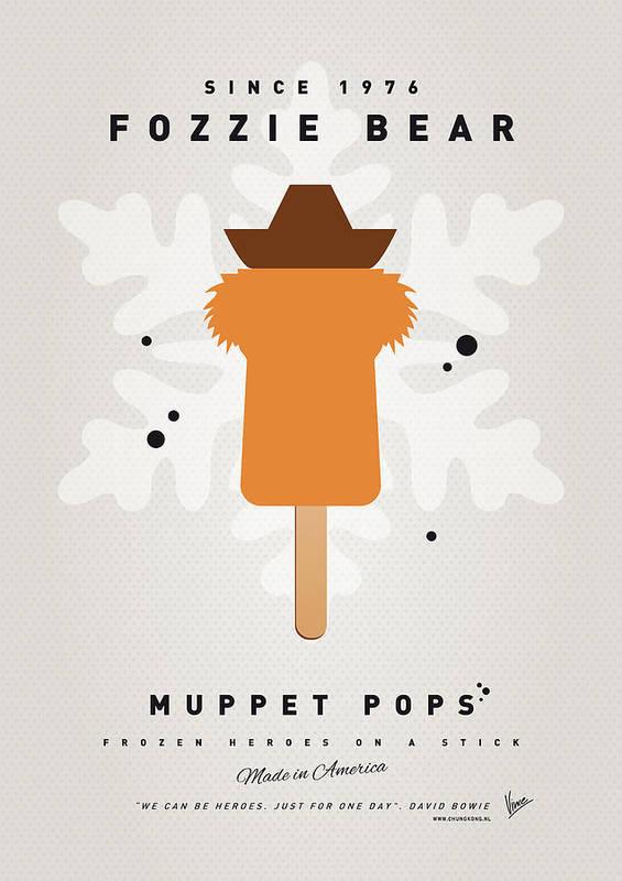 Muppets Poster featuring the digital art My Muppet Ice Pop - Fozzie Bear by Chungkong Art