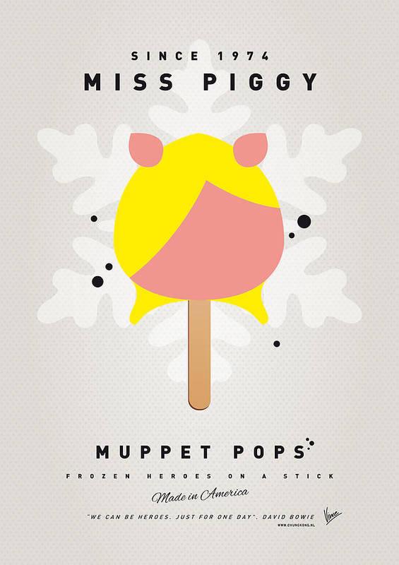 Muppets Poster featuring the digital art My Muppet Ice Pop - Miss Piggy by Chungkong Art