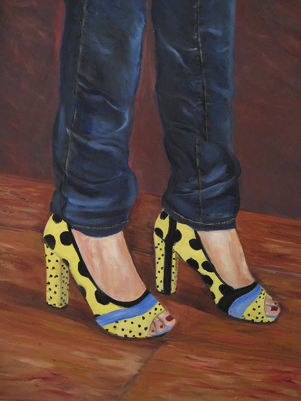 Shoes Poster featuring the painting My Shoes by Roberta Rotunda