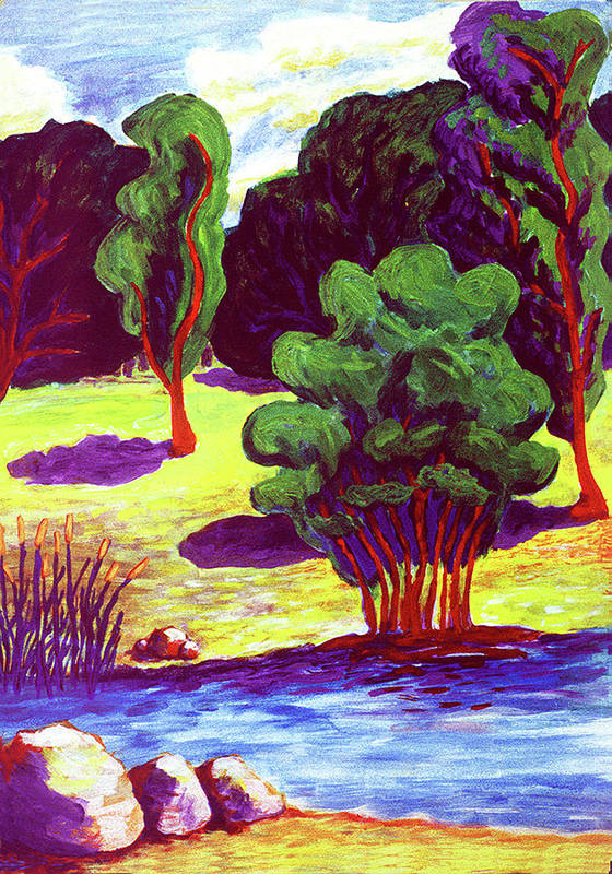Landscape Poster featuring the painting My Side Of The River by Terrie Rockwell