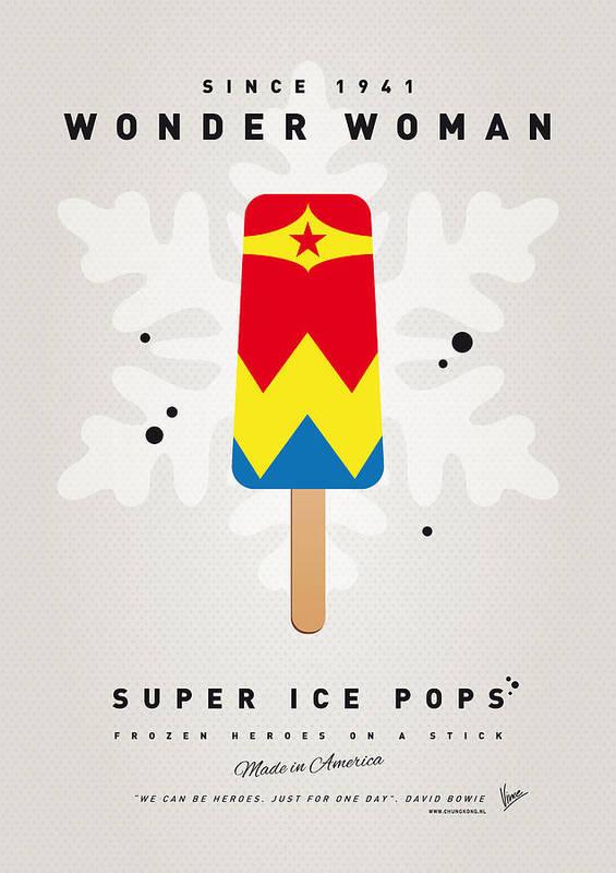 Superheroes Poster featuring the digital art My Superhero Ice Pop - Wonder Woman by Chungkong Art