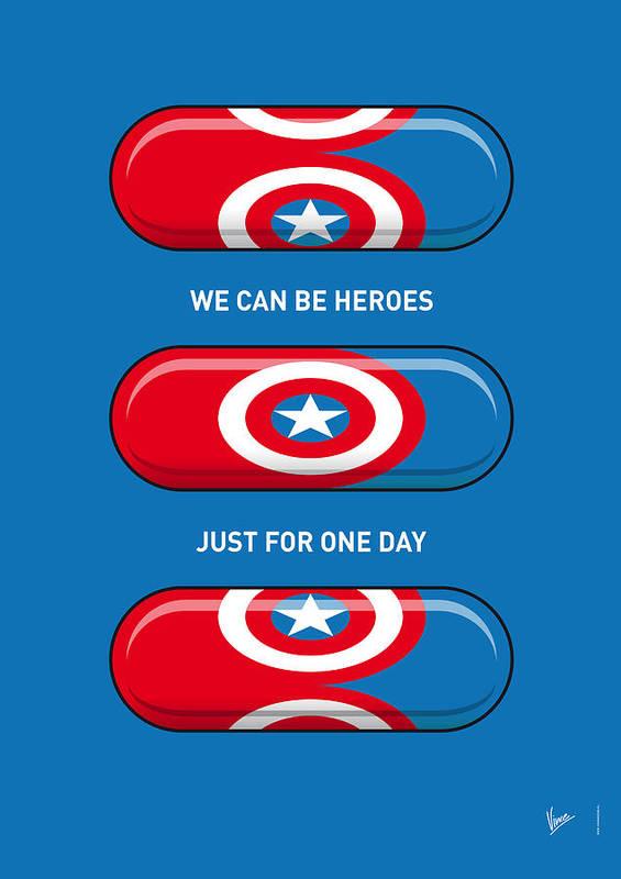Superheroes Poster featuring the digital art My Superhero Pills - Captain America by Chungkong Art