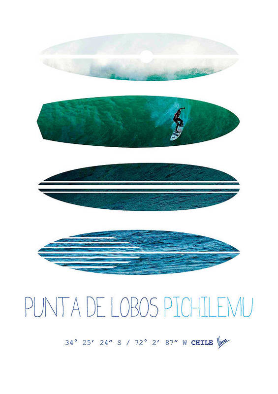 Minimal Poster featuring the digital art My Surfspots Poster-3-punta De Lobos-chile by Chungkong Art