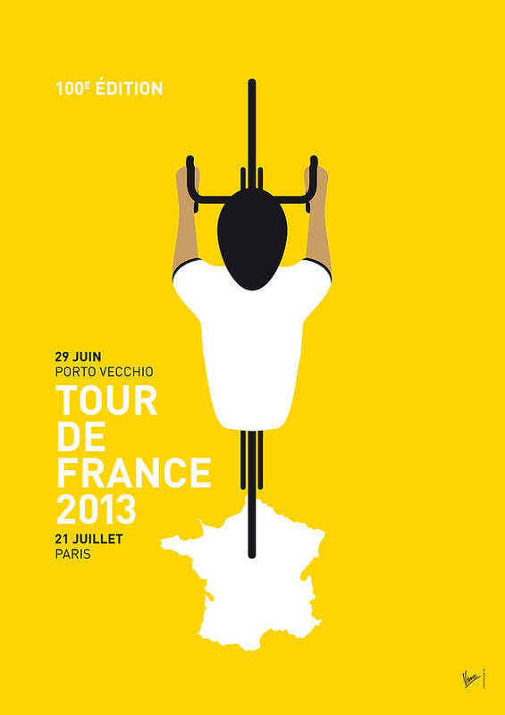 Cycling Poster featuring the digital art My Tour De France Minimal Poster by Chungkong Art