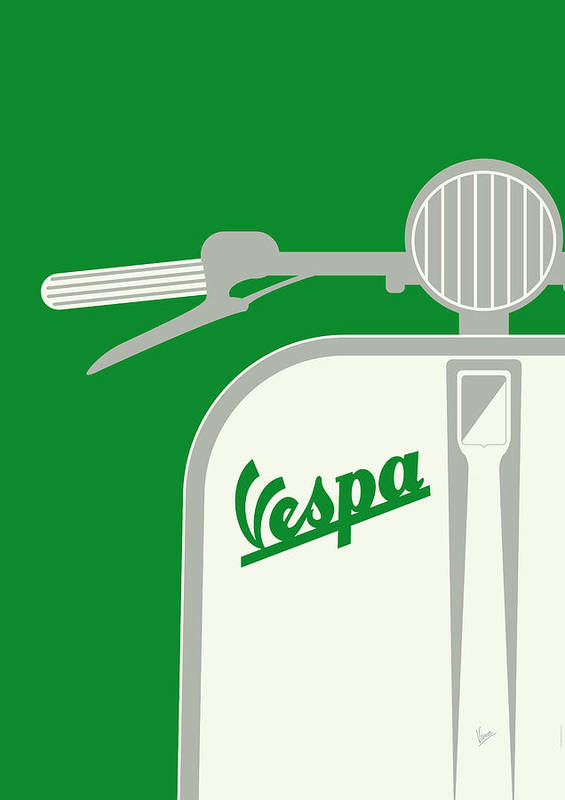 Minimal Poster featuring the digital art My Vespa - From Italy With Love - Green by Chungkong Art