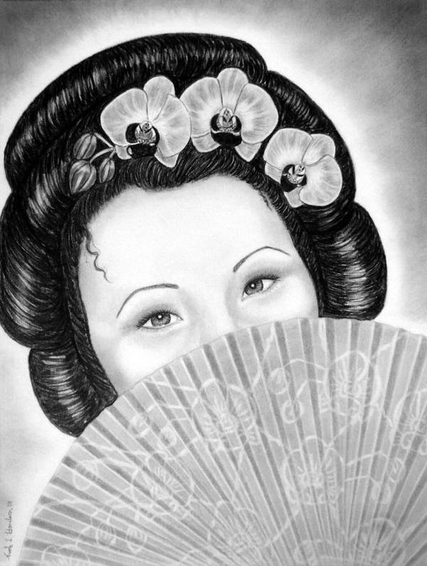 Geisha Poster featuring the drawing Mysterious - Geisha Girl With Orchids And Fan by Nicole I Hamilton
