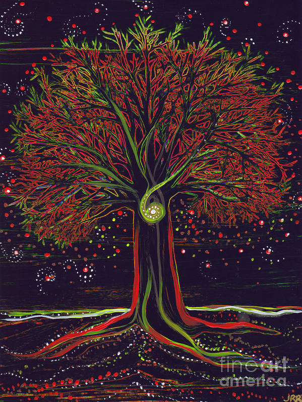 First Star Poster featuring the painting Mystic Spiral Tree Red By Jrr by First Star Art