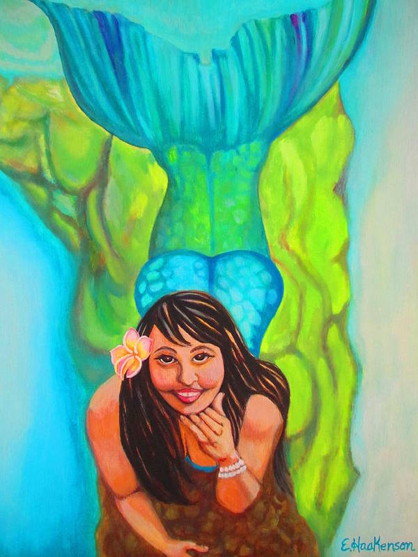 Elaine Haakenson Poster featuring the painting Mystical Mermaid by Elaine Haakenson