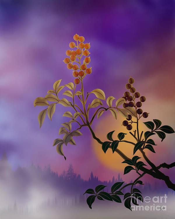 Nature Poster featuring the digital art Nandina The Beautiful by Bedros Awak