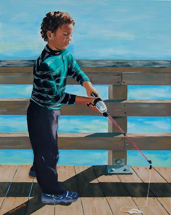 Fishing Poster featuring the painting Naples Boy Fishing by Judy Swerlick