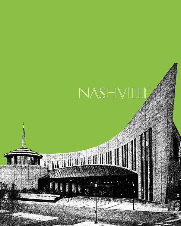 Architecture Poster featuring the digital art Nashville Skyline Country Music Hall Of Fame - Olive by DB Artist