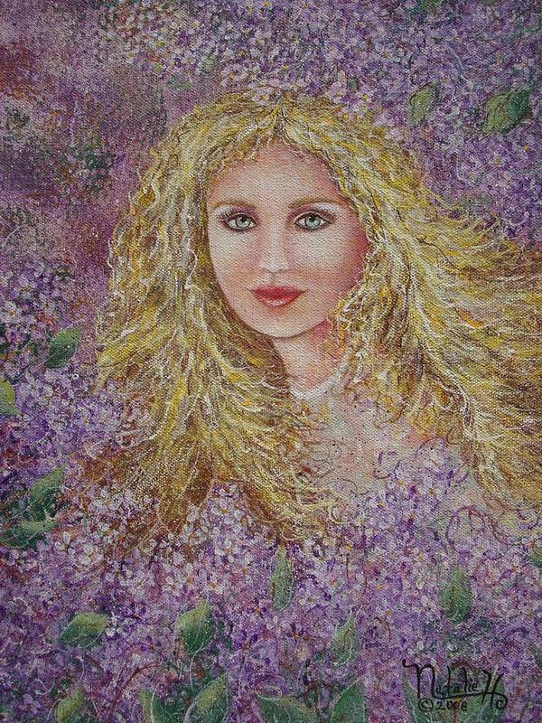Portrait Poster featuring the painting Natalie In Lilacs by Natalie Holland