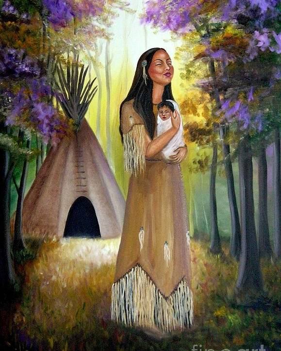 Native American Poster featuring the painting Native American Mother And Child by Lora Duguay