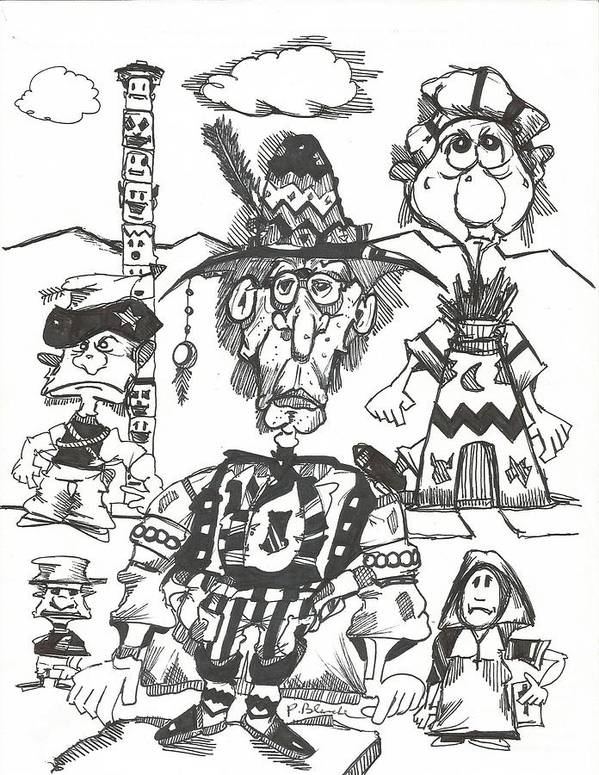 Character Poster featuring the drawing Natives by Philip Blanche