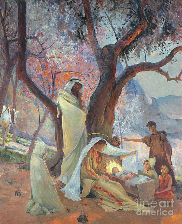 Jesus Christ Poster featuring the painting Nativity by Frederic Montenard