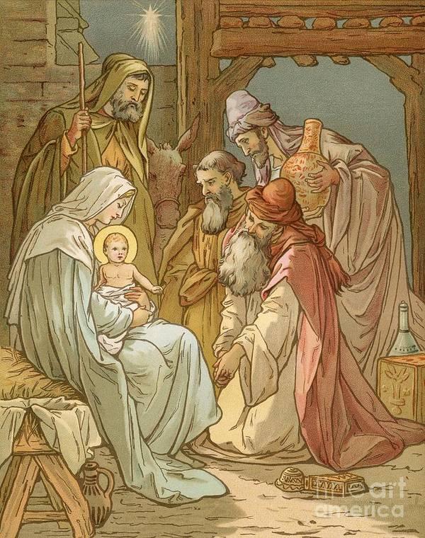 Bible; Nativity; Three Kings; Three Wise Men; Virgin Mary; Bethlehem; Star Of David; Manger; Presents; Birth; Jesus Christ; Joseph Poster featuring the painting Nativity by John Lawson