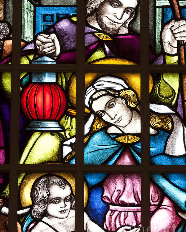 Christmas Poster featuring the photograph Nativity Window by Patty Colabuono