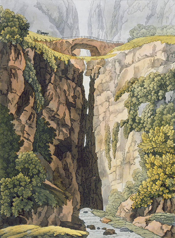 Possibly Brazil Poster featuring the drawing Natural Bridge, Valle Dicononzo by Gerolamo Fumagalli