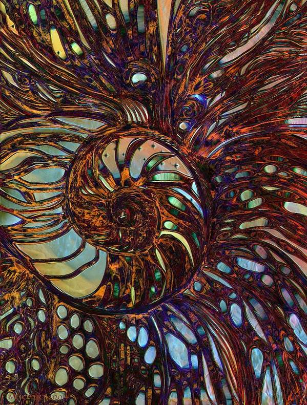 Shell Poster featuring the digital art Nautilus by Mary Eichert
