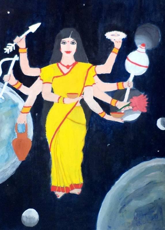 Nava Durga Poster featuring the painting Nava Durga Kusmaanda by Pratyasha Nithin