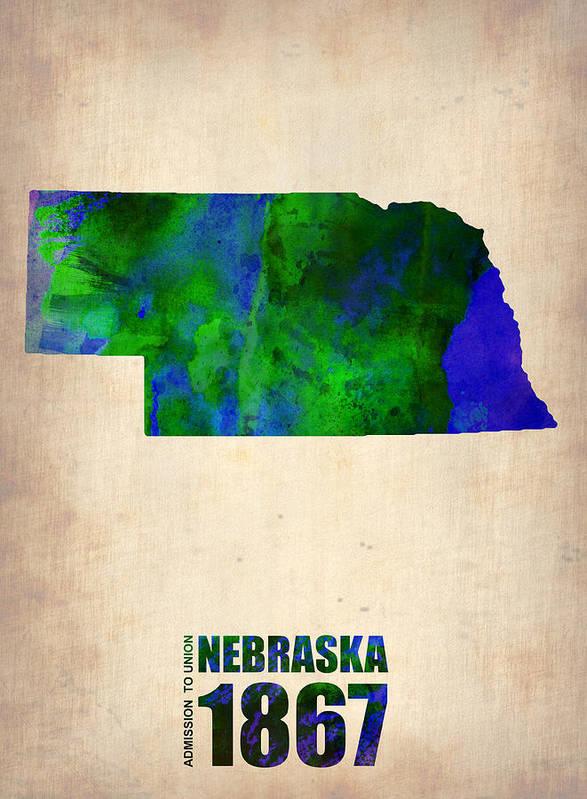 Nebraska Poster featuring the digital art Nebraska Watercolor Map by Naxart Studio