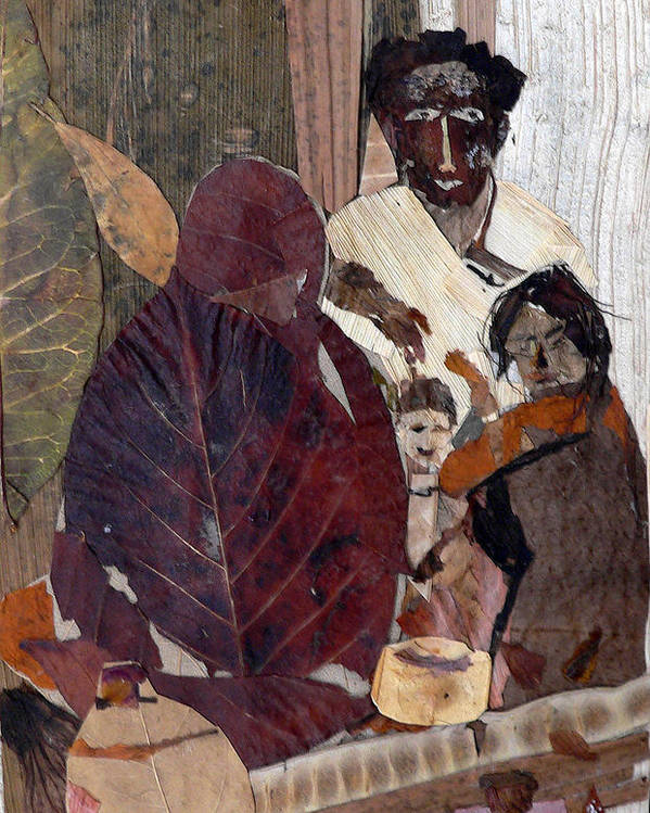 Group Portrait Poster featuring the mixed media Needy Family by Basant Soni