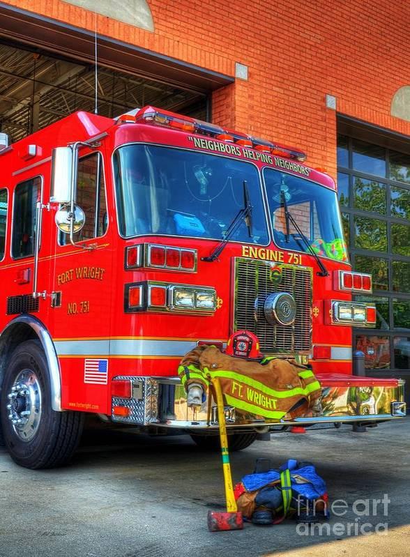 Fire Trucks Poster featuring the photograph Neighbors Helping Neighbors by Mel Steinhauer