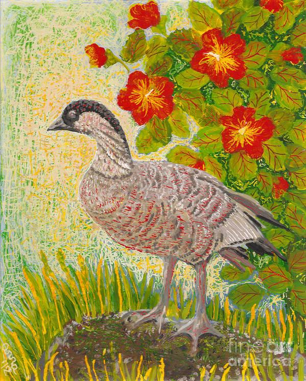 Hawaiian Birds Poster featuring the painting Nene by Anna Skaradzinska