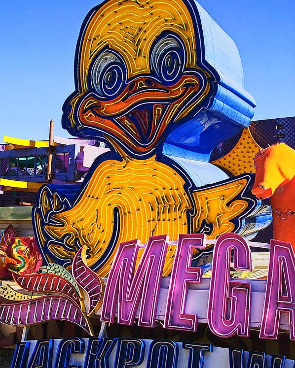 Neon Duck Poster featuring the photograph Neon Duck by Garry Gay