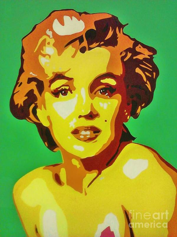 Pop Art Poster featuring the painting Neon Marilyn Monroe by Grant Swinney
