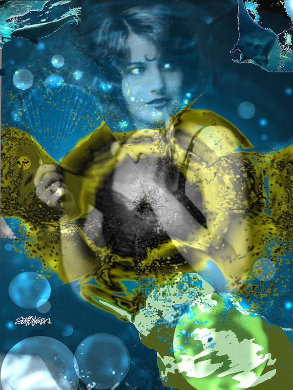 Neptune's Daughter Poster featuring the digital art Neptune's Daughter by Seth Weaver