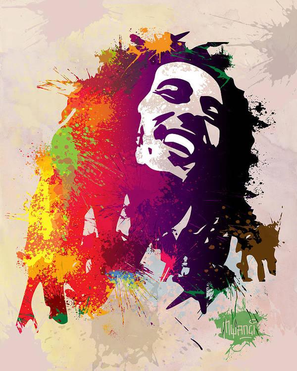 Reggae Poster featuring the painting Nesta Robert by Anthony Mwangi