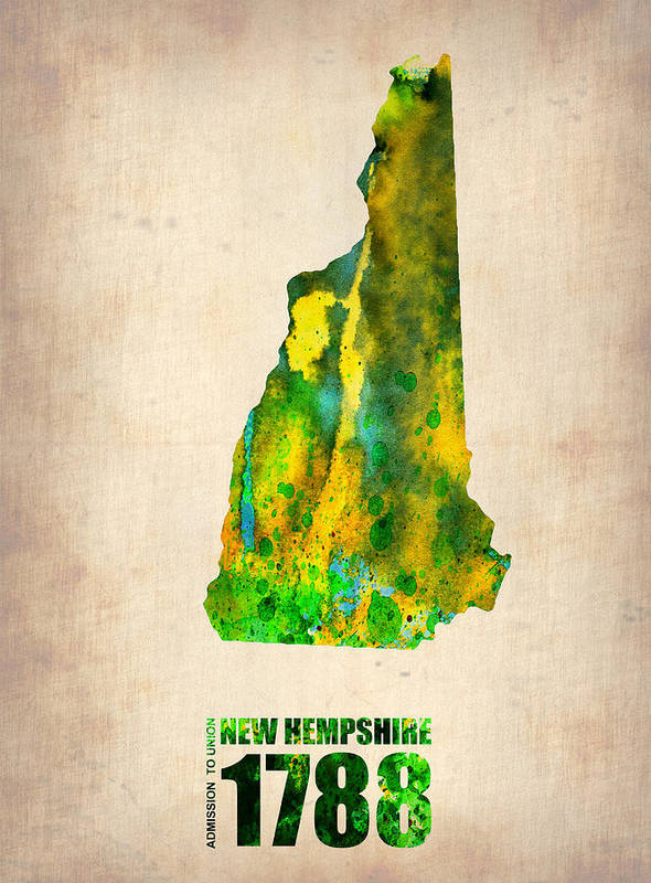 New Hampshire Poster featuring the painting New Hampshire Watercolor Map by Naxart Studio