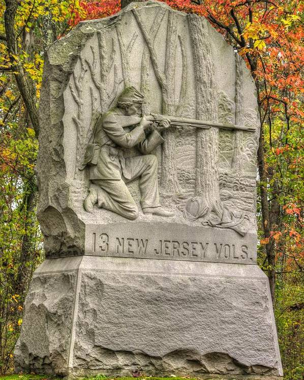 Civil War Poster featuring the photograph New Jersey At Gettysburg - 13th Nj Volunteer Infantry Near Culps Hill Autumn by Michael Mazaika