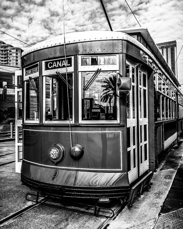 America Poster featuring the photograph New Orleans Streetcar Black And White Picture by Paul Velgos