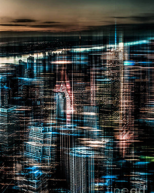 Nyc Poster featuring the photograph New York - The Night Awakes - Dark by Hannes Cmarits