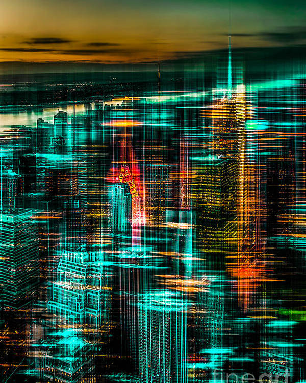 Nyc Poster featuring the photograph New York - The Night Awakes - Green by Hannes Cmarits