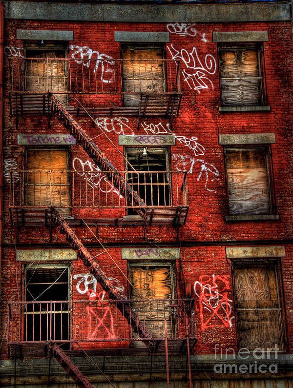 Abandoned Poster featuring the photograph New York City Graffiti Building by Amy Cicconi